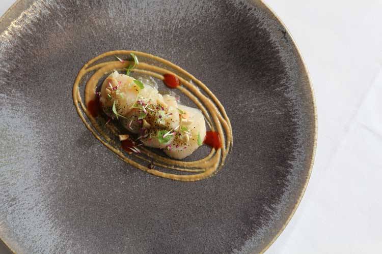 raw-orkney-scallops-soy-bean-purei%c2%81e-confit-ginger-peanuts4