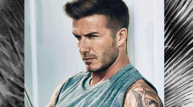 David Beckham - showing his Tattoos for Elle magazine uk