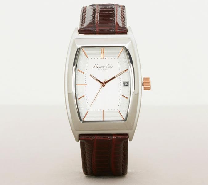 Kenneth Cole Silvertone Barrel watch