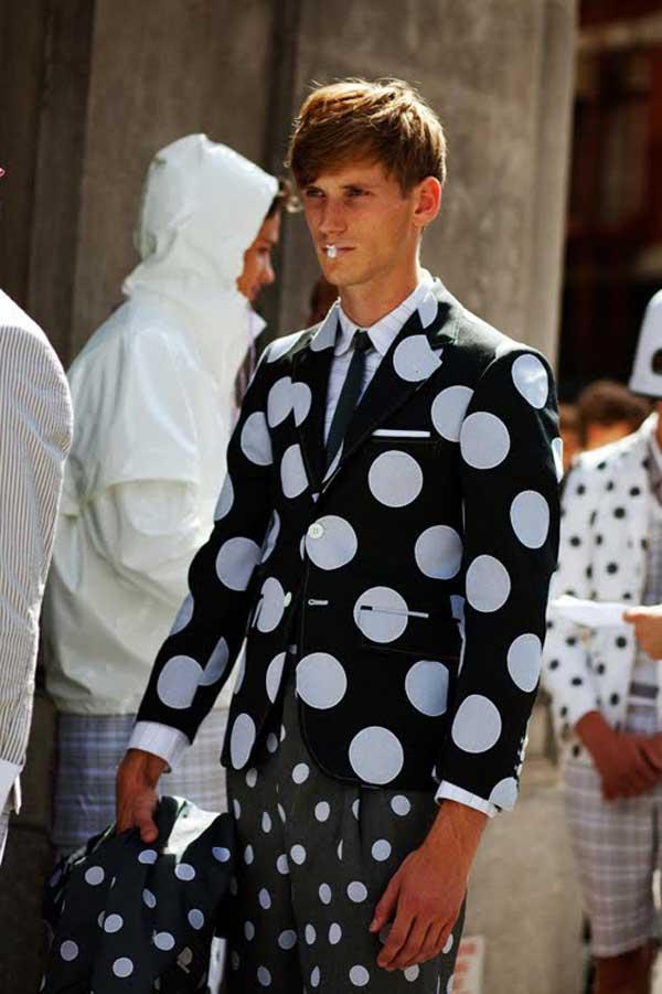 Polka Dot - Blue and white suit for men 2013