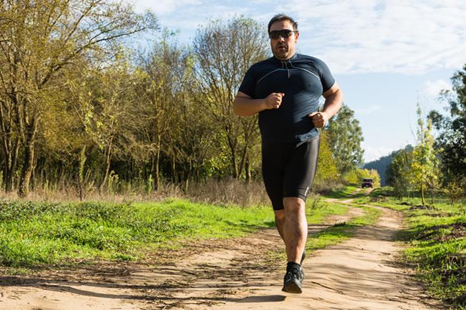 Large man running