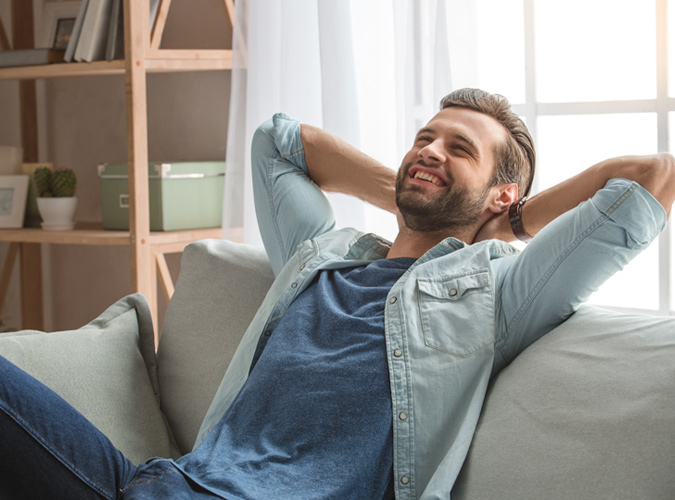 relaxed happy man