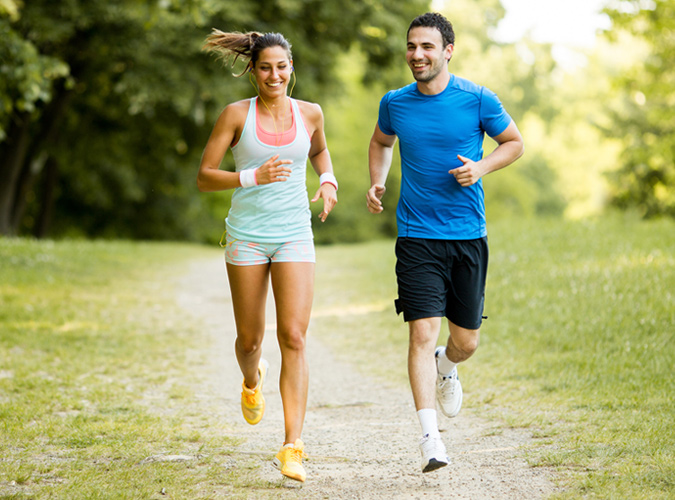 couple jogging outside