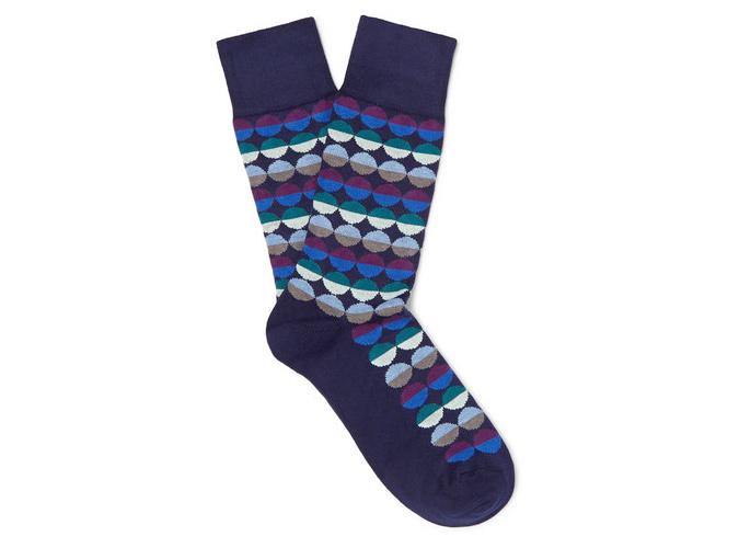 PAUL SMITH Sunset Spot Intarsia Stretch Cotton-Blend Socks