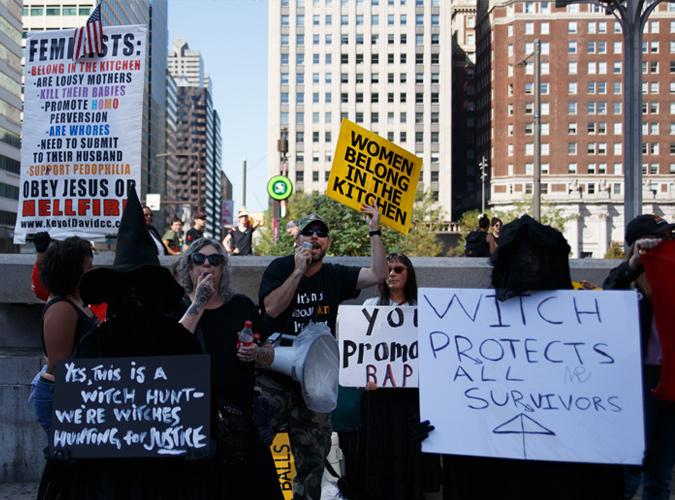 Anti-feminist counter protestors