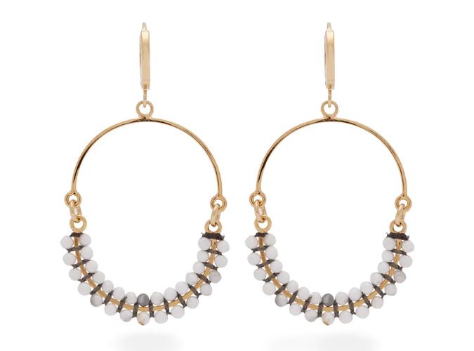 ISABEL MARANT Tropical beaded hoop drop earrings