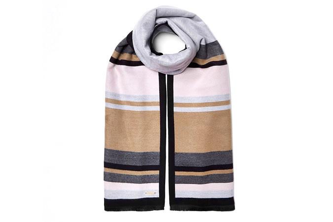 River Island Grey and beige blocked blanket scarf