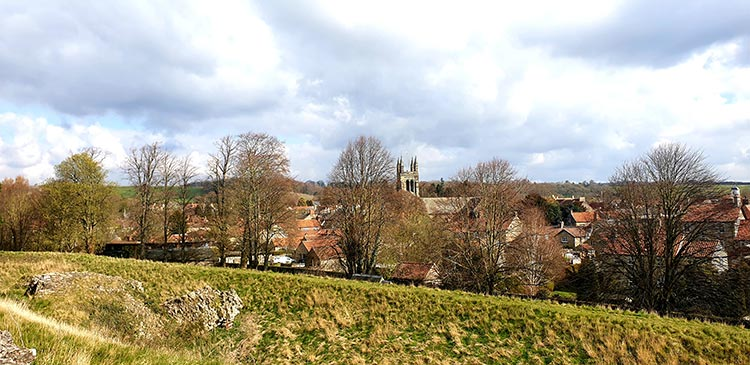 Helmsley Castle is a medieval castle situated in the market town of Helmsley, within the North York Moors National Park, North Yorkshire, view