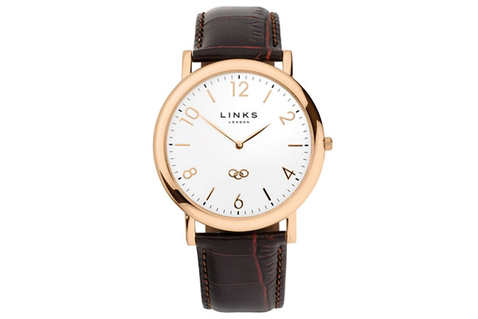 Noble Slim Mens Rose Gold Plate & Brown Leather Watch