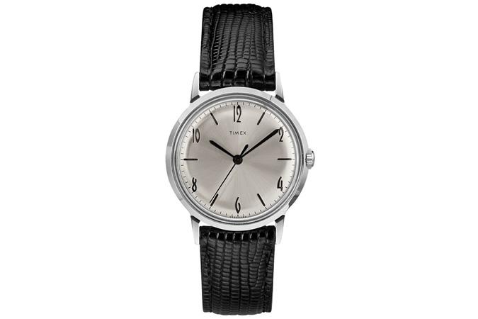 Marlin® Hand-Wound 34mm Leather Strap Watch